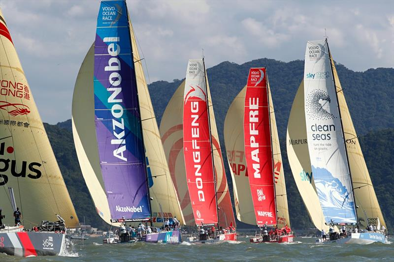Team AkzoNobel as Volvo Ocean Race Leg 8 from Itajaí to Newport starts - photo © Thierry Martinez / team AkzoNobel