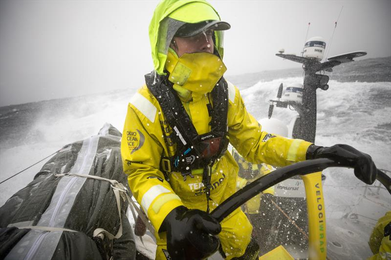 Peter Burling helming Team Brunel in the North Atlantic during the 2017-18 edition of The Ocean Race - photo © Sam Greenfield / Volvo Ocean Race