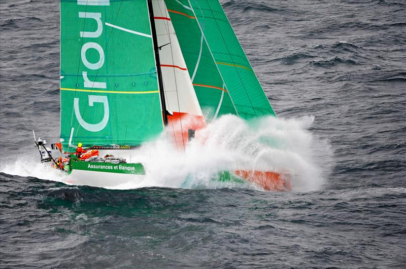 Volvo Ocean Race leg 8 leaders Groupama on their final approach to Lorient - photo © Paul Todd / Volvo Ocean Race