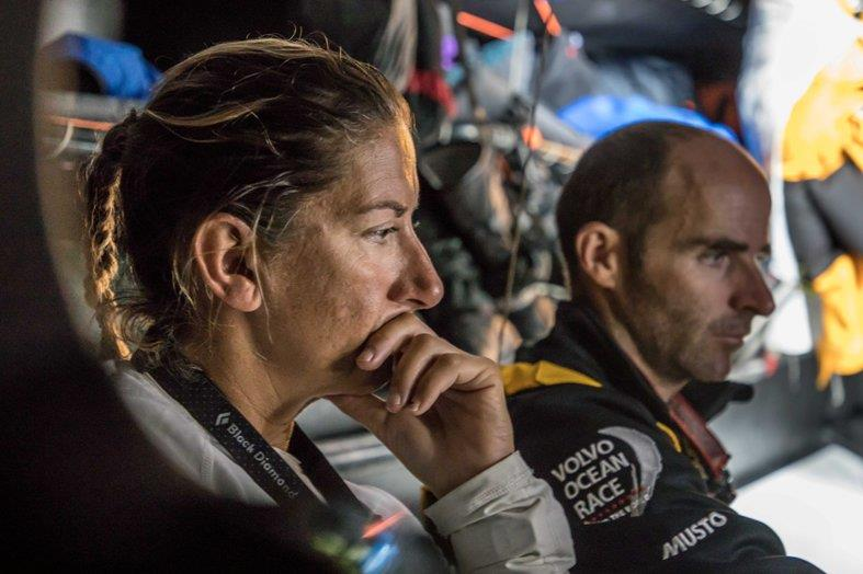 Leg 3, Cape Town to Melbourne, day 04, morning on board Turn the Tide on Plastic. Dee Caffari in her thoughts after getting the latest position report. - photo © Jeremie Lecaudey / Volvo Ocean Race