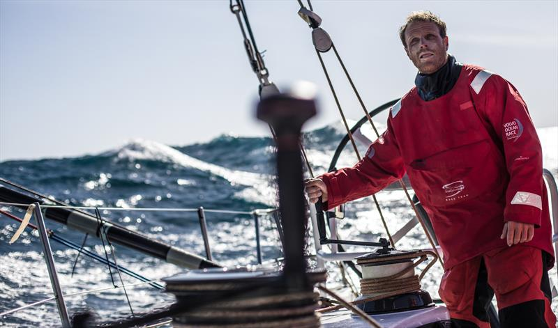 Leg 3, Cape Town to Melbourne, day 8, Luke Parkinson with the rolling swell behind on board Sun Hung Kai / Scallywag. photo copyright Konrad Frost / Volvo Ocean Race taken at  and featuring the Volvo One-Design class