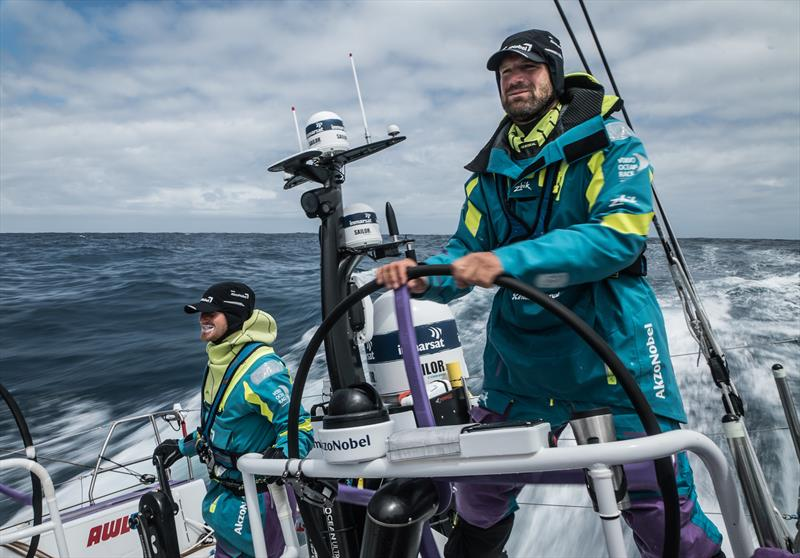 Leg 3, Cape Town to Melbourne, day 10, on board AkzoNobel. Simeon Tienpont and Nicolai Sehested speeding to try and make up time. - photo © James Blake / Volvo Ocean Race