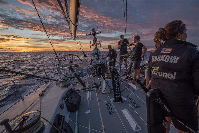 Leg 4, Melbourne to Hong Kong, day 10 on board Brunel . Sunrise. Recovering after a hard night in the doldrums. - photo © Yann Riou / Volvo Ocean Race