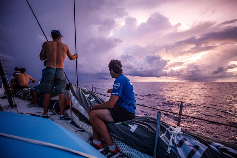 Leg 4, Melbourne to Hong Kong, day 11, sunrise on board Vestas 11th Hour brings ominous rain clouds, which after a night of consistent sailing and steady gains, risks everything. - photo © Amory Ross / Volvo Ocean Race