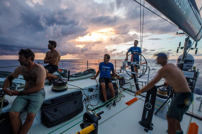 Leg 4, Melbourne to Hong Kong, day 11, the crew on board Vestas 11th Hour prepare for the randomness of a sunrise rain cloud. - photo © Amory Ross / Volvo Ocean Race