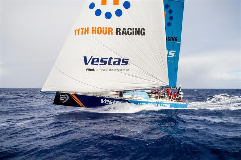 Leg 4, Melbourne to Hong Kong, day 16, triple-headed (3 front sails in the air) tradewind sailing towards the Philippines on board Vestas 11th Hour. - photo © Amory Ross / Volvo Ocean Race