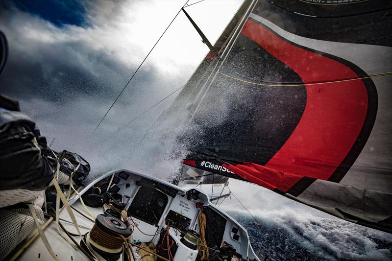 Leg 6 to Auckland, day 05 on board Sun hung Kai / Scallywag. This is what the front of the boat looked like this morning. 11 February,  2018 - photo © Jeremie Lecaudey / Volvo Ocean Race