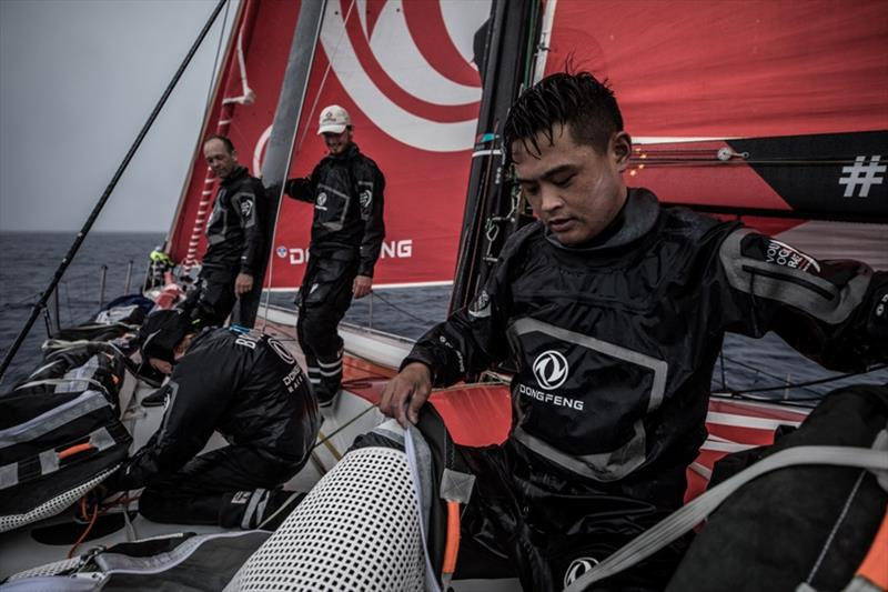 Volvo Ocean Race Leg 6 to Auckland, day 06 on board Dongfeng. Time to clean the deck for Black and the crew. 12 February - photo © Martin Keruzore / Volvo Ocean Race