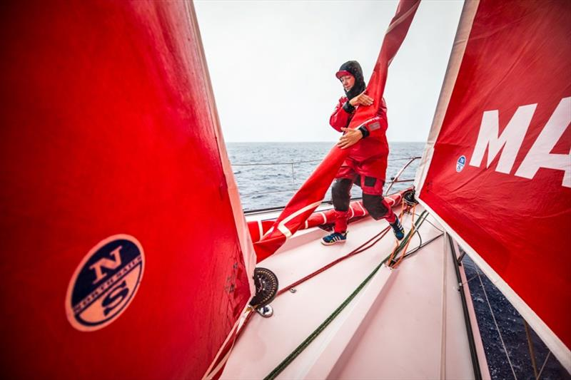Volvo Ocean Race Leg 6 to Auckland, day 06 on board MAPFRE, Sophie Ciszek during a piling. 12 February - photo © Ugo Fonolla / Volvo Ocean Race