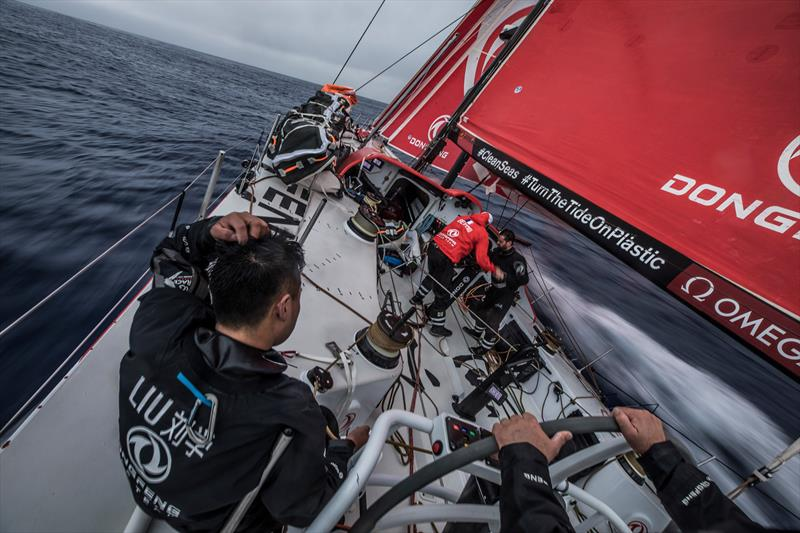 Leg 6 to Auckland, Day 6 on board Dongfeng. Strong reaching condition heading south. Black trimming the main while Kevin Escoffier is driving. 12 February,  2018 - photo © Martin Keruzore / Volvo Ocean Race