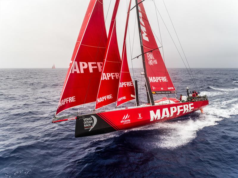 Leg 6 to Auckland, Day 6 on board MAPFRE, drone shot with Dongfeng in the background. 12 February, 2018 - photo © Ugo Fonolla / Volvo Ocean Race