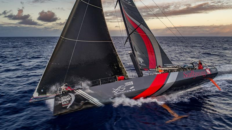 Leg 6 to Auckland, day 07 on board Sun hung Kai / Scallywag. Annemieke Bes fixing the J1. 12 February, 2018 - photo © Jeremie Lecaudey / Volvo Ocean Race