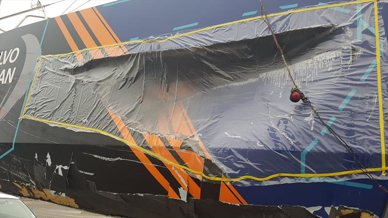 Vestas 11th Hour Racing unloaded and waiting to start the trip to Auckland for repair ahead of the start of Leg 7 of the Volvo Ocean Race on March 18, 2018 - photo © Facebook.com