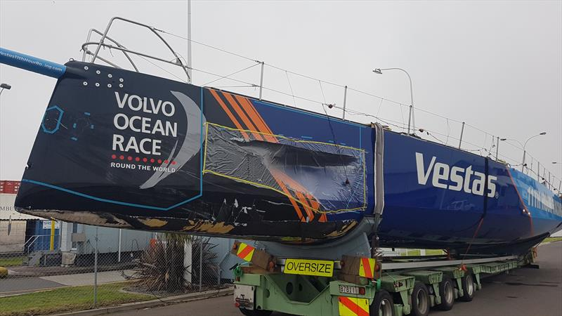 Vestas 11th Hour Racing unloaded and waiting to start the trip to Auckland for repair ahead of the start of Leg 7 of the Volvo Ocean Race on March 18, 2018 photo copyright Facebook.com taken at  and featuring the Volvo One-Design class