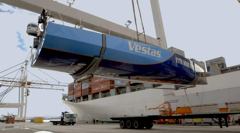 Vestas 11th Hour Racing being unloaded ahead of the start the trip to Auckland for repair ahead of the start of Leg 7 of the Volvo Ocean Race on March 18, 2018 - photo © Vestas 11th Hour Racing