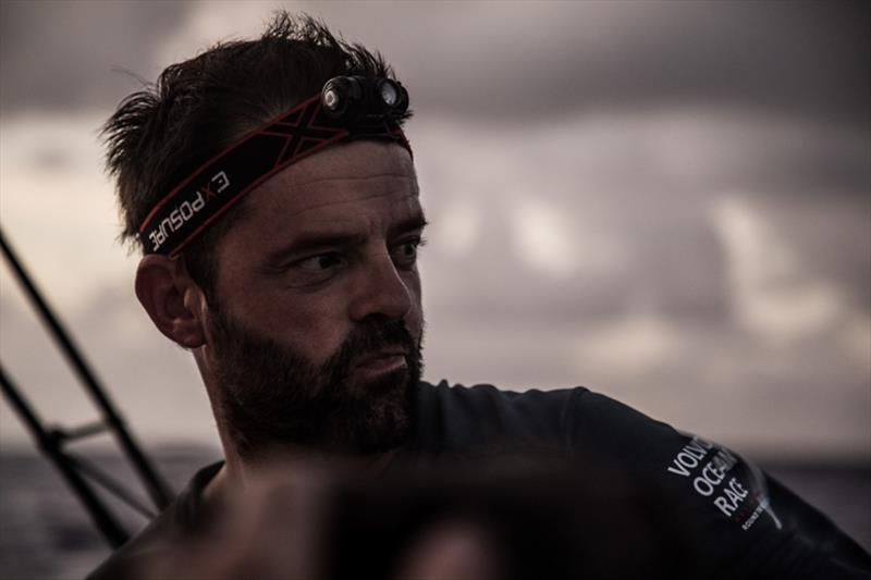 Volvo Ocean Race Leg 6 to Auckland, day 07 on board Dongfeng. Pascal Bidegorry thinking aout how to bit the other red boat. 13 February - photo © Martin Keruzore / Volvo Ocean Race
