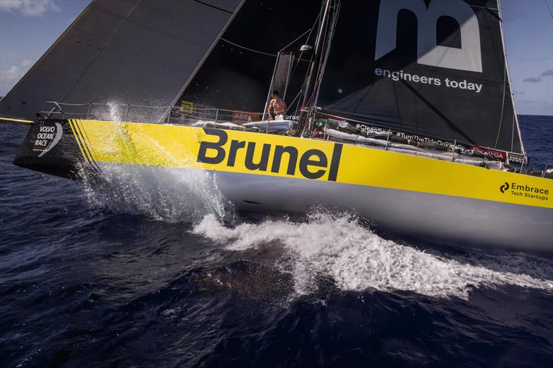 Leg 6 to Auckland, Day 7 on board Brunel. Sail change. Carlo Huisman. Drone. 13 February, . photo copyright Yann Riou / Volvo Ocean Race taken at  and featuring the Volvo One-Design class