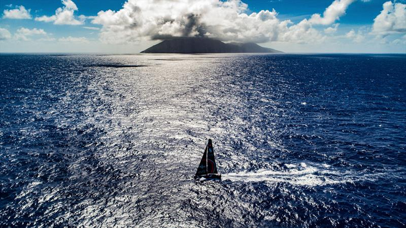 Leg 6 to Auckland, Day 7 on board Sun hung Kai / Scallywag. Islands. Drone shots. Crossing path with USA territory islands, looked like a small volcano from the boat.13 February, . - photo © Jeremie Lecaudey / Volvo Ocean Race