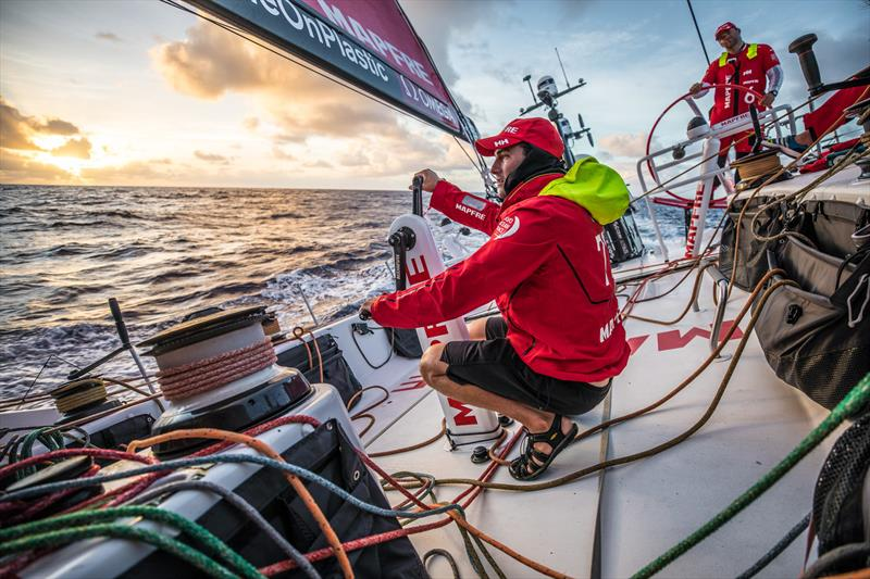 Leg 6 to Auckland, Day 7 on board MAPFRE, Blair Tuke trimming at the sunset. 13 February, . - photo © Ugo Fonolla / Volvo Ocean Race