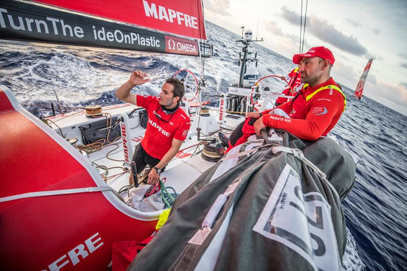 Leg 6 to Auckland, Day 7 on board MAPFRE, Blair Tuke talking with Xabi Fernandez on deck. 13 February, . - photo © Ugo Fonolla / Volvo Ocean Race