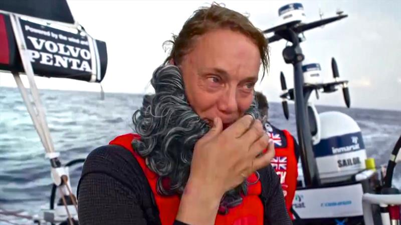 Dr Clogs tries to control her laughter after Steve Hayles fires the `viewer` question to her. - photo © Volvo Ocean Race