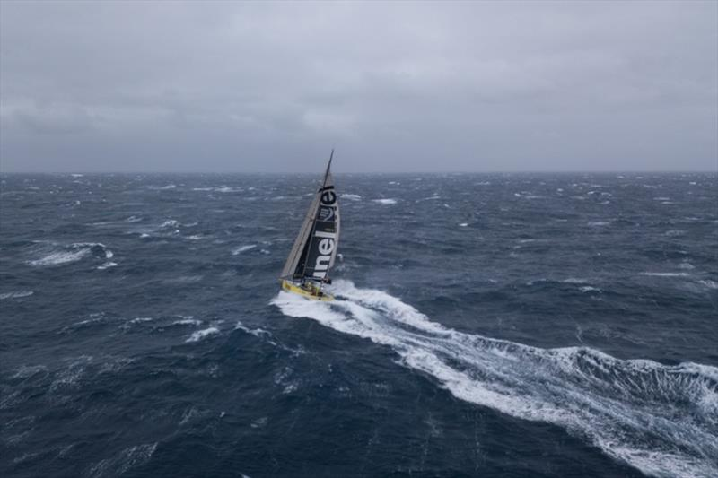 Volvo Ocean Race Leg 7 from Auckland to Itajai, day 07 on board Brunel. Drone picture. 51 South. 35-38 knots of wind. Three reefs in the main sail. Top boatspeed of the day 36.1 knots. Drone back onboard. - photo © Yann Riou / Volvo Ocean Race