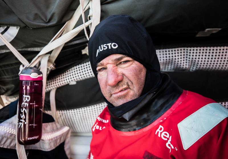 Leg 7 from Auckland to Itajai, day 5 on board Sun Hung Kai / Scallywag. David Witt after a stint on the wheel. 22 March,. - photo © Konrad Frost / Volvo Ocean Race