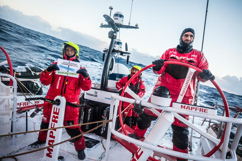 Leg 7 from Auckland to Itajai, day 08 on board MAPFRE, passing Point Nemo, Blair Tuke holding the signal, Xabi steering and Tamara at the back 25 March,. - photo © Ugo Fonolla / Volvo Ocean Race