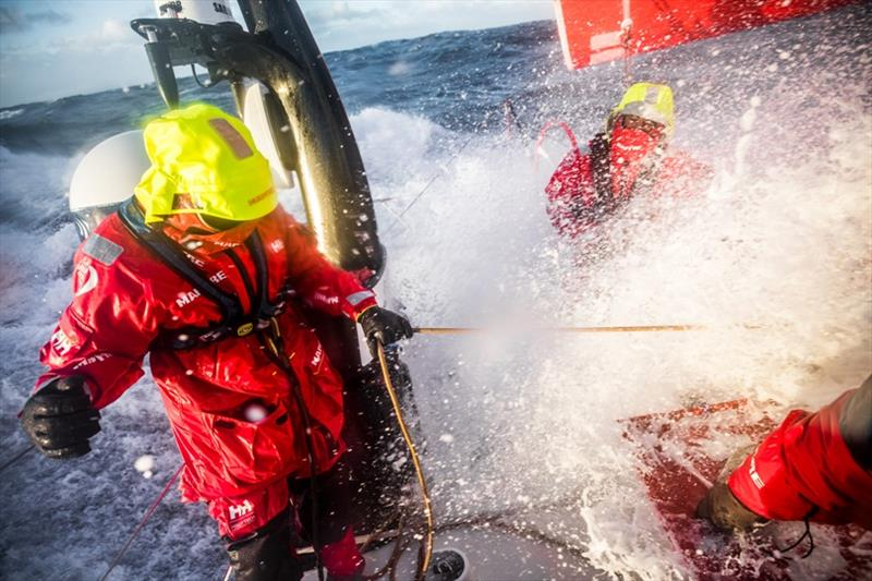 Volvo Ocean Race Leg 7 from Auckland to Itajai, day 09 on board MAPFRE, Xabi Fernandez and Blair Tuke fighting against southern ocean waves. - photo © Ugo Fonolla / Volvo Ocean Race