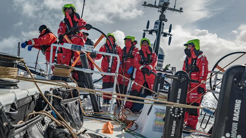Leg 7 from Auckland to Itajai, day 10 on board Vestas 11th Hour. 26 March, . The team waiting for the right moment to gybe. - photo © Jeremie Lecaudey / Volvo Ocean Race