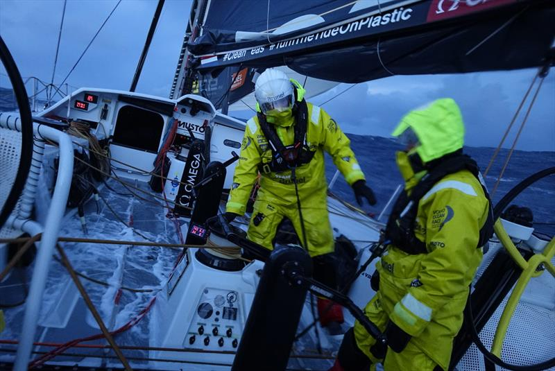 Leg 7 from Auckland to Itajai, day 10 on board Brunel. Kyle Langford and Nina Curtis on watch just after sunset. 27 March, . - photo © Yann Riou / Volvo Ocean Race