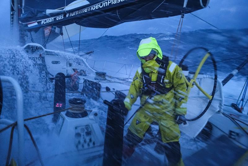Leg 7 from Auckland to Itajai, day 10 on board Brunel. Nina Curtis on deck despite her small injury. 27 March, . - photo © Yann Riou / Volvo Ocean Race