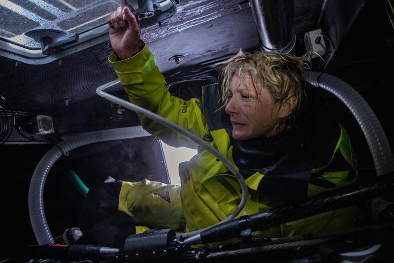 Leg 7 from Auckland to Itajai, day 10 on board Brunel. Abby Ehler doing her checks at the aft of the boat. 27 March, . - photo © Yann Riou / Volvo Ocean Race