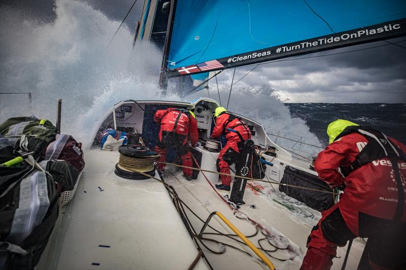 Leg 7 from Auckland to Itajai, day 11 on board Vestas 11th Hour. 27 March, . Spray position, get low. - photo © Jeremie Lecaudey / Volvo Ocean Race