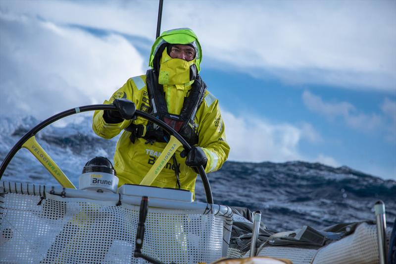 Leg 7 from Auckland to Itajai, day 10 on board Brunel. Bouwe Bekking driving in a big sea state. 27 March,. - photo © Yann Riou / Volvo Ocean Race
