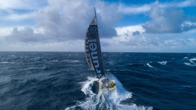 Leg 7 from Auckland to Itajai, day 11 on board Brunel. Drone picture. 400 miles from Cape Horn. 30 knots of wind. 5-6 meter waves. Drone back on board. Thanks to Kyle Langford for his help on launching and catching the drone. 28 March, . - photo © Yann Riou / Volvo Ocean Race