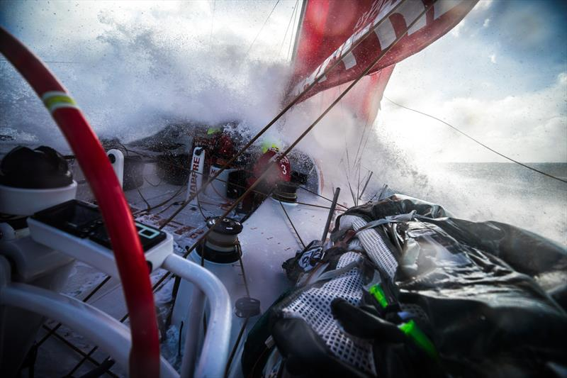 Leg 7 from Auckland to Itajai, day 11 on board MAPFRE, surfing the southern ocean, Guillermo and Sophie at the hatch, 28 March, . - photo © Ugo Fonolla / Volvo Ocean Race