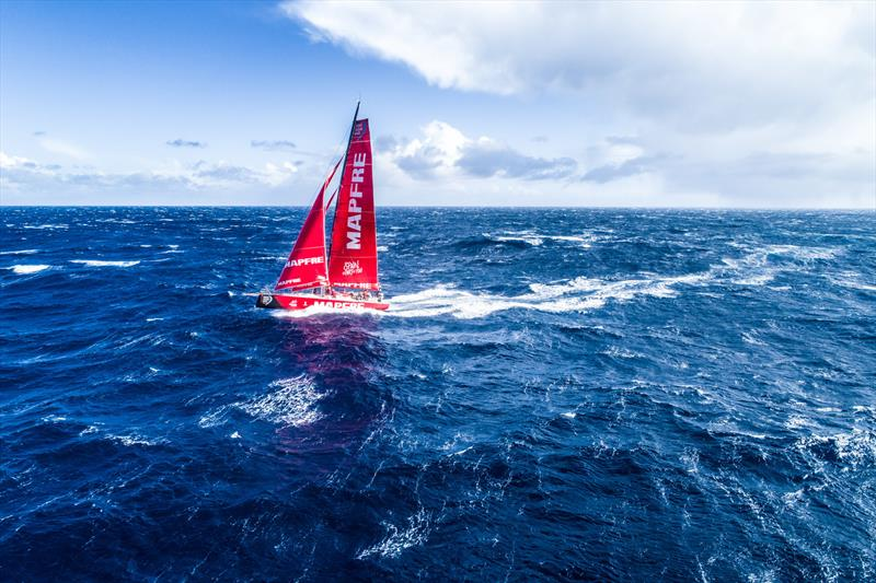 Leg 7 from Auckland to Itajai, day 11 on board MAPFRE, Aerial shot, the crew were peeling with 35-40 knots of wind, 28 March, . - photo © Ugo Fonolla / Volvo Ocean Race