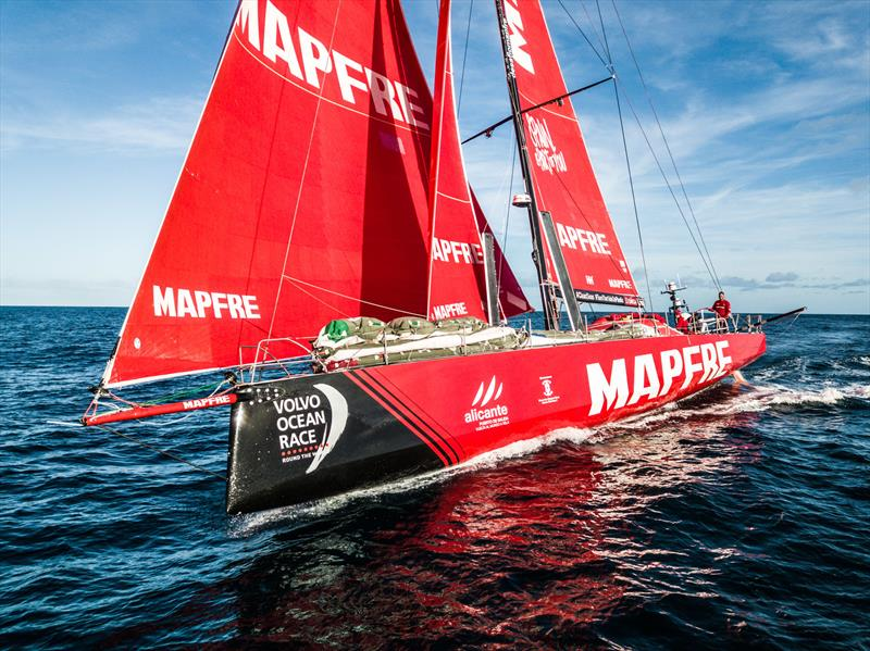 Leg 7 from Auckland to Itajai, day 15 on board MAPFRE, drone shot with Blair Tuke at the helm, 01 April, . - photo © Ugo Fonolla / Volvo Ocean Race
