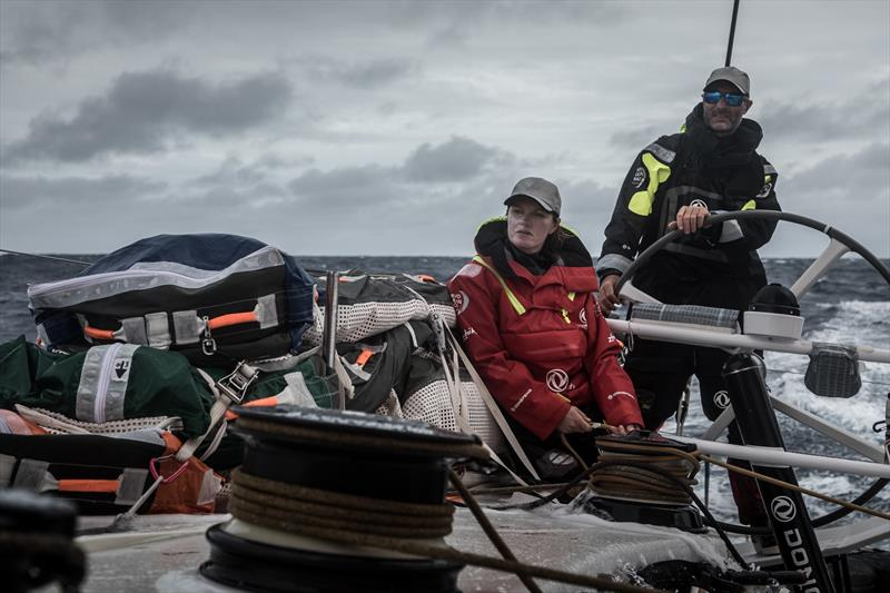 Leg 7 from Auckland to Itajai, day 18 on board Dongfeng. Jeremie Beyou driving while Marie Riou is managing the main. 02 April,. - photo © Martin Keruzore / Volvo Ocean Race