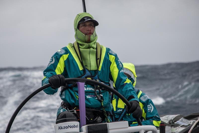 Leg 7 from Auckland to Itajai, day 7 on board AkzoNobel. 23 March, . Justin Ferris takes a big wave face on- the pressure causes a nose bleed. - photo © James Blake / Volvo Ocean Race