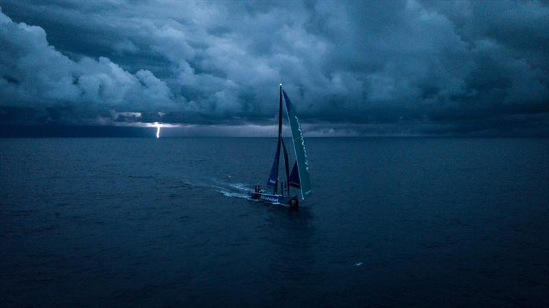 Leg 7 from Auckland to Itajai, day 18 on board AkzoNobel. 05 April, . Lightning Storm Approaches Team Akzonobel on Last night. - photo © James Blake / Volvo Ocean Race