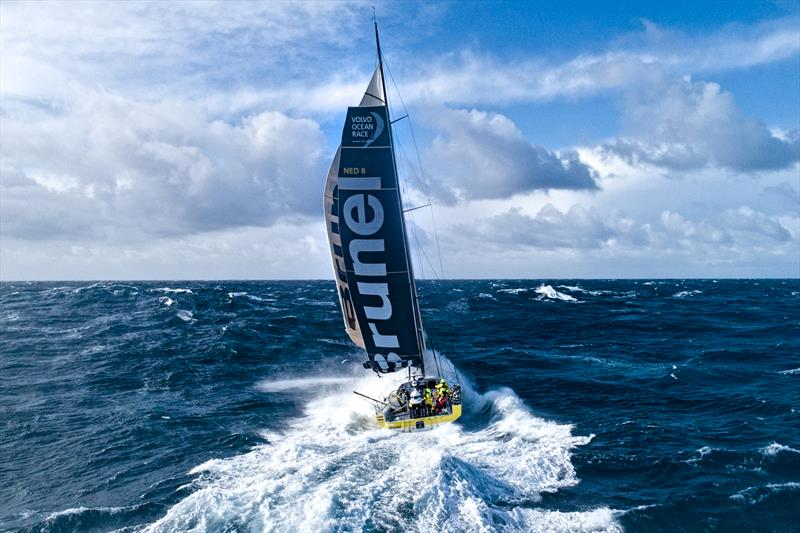 Leg 7 from Auckland to Itajai, Day 11 on board Brunel. Drone picture. 400 miles from Cape Horn. 30 knots of wind. 5-6 meter waves. Thanks to Kyle Langford for his help on launching and catching the drone. 28 March, 2018 - photo © Yann Riou / Volvo Ocean Race