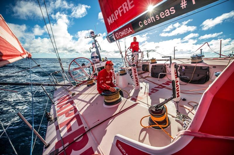 Volvo Ocean Race Leg 7 from Auckland to Itajai, day 19 on board MAPFRE, Blair Tuke at the helm, and Tamara Echegoyen at the winch - photo © Ugo Fonolla / Volvo Ocean Race