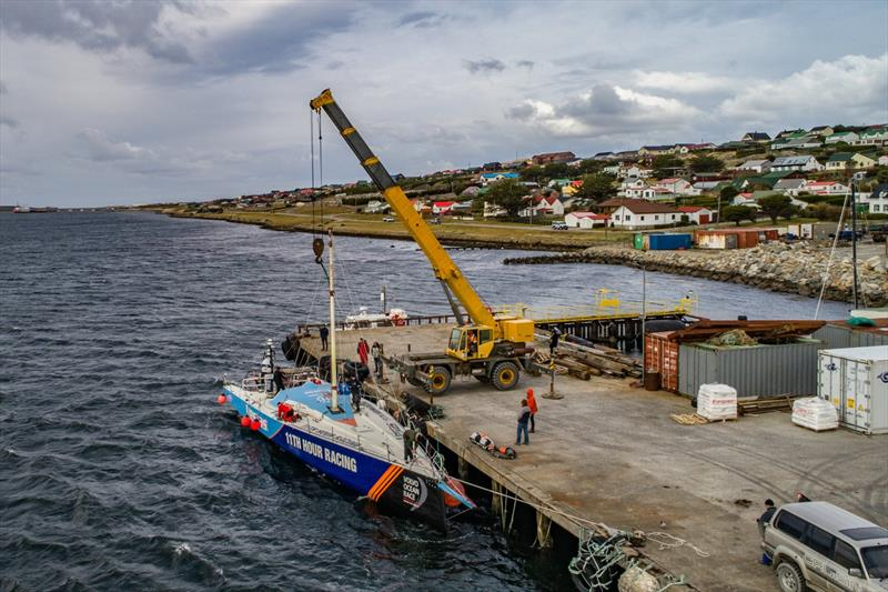 Vestas 11th Hour Racing has her jury rig fitted at Port Stanley in the Falkland Islands - photo © Jeremie Lecaudey / Volvo Ocean Rac