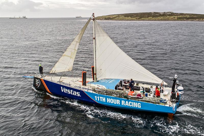 Vestas 11th Hour Racing leaves Port Stanley in the Falkland Islands for an 8-10 day voyage heading for Itajai. - photo © Jeremie Lecaudey / Volvo Ocean Rac