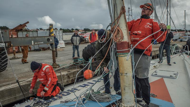 Leg 7 from Auckland to Itajai, day 21 on board Vestas 11th Hour. 06 April, . Mast Accident - Falkland Islands - photo © Jeremie Lecaudey / Volvo Ocean Race