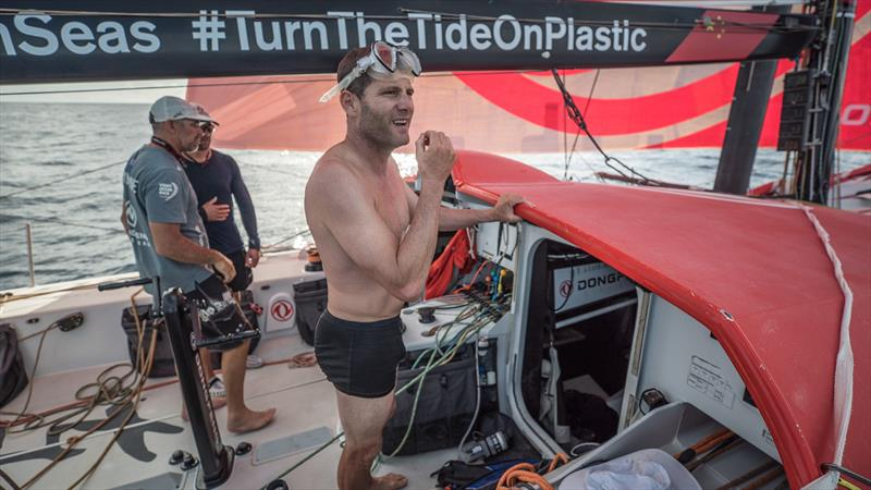 Leg 8 from Itajai to Newport, day 09 on board Dongfeng. 30 April, . Charles Caudrelier after diving under the boat to get the seaweed out of the rudders. - photo © Jeremie Lecaudey / Volvo Ocean Race