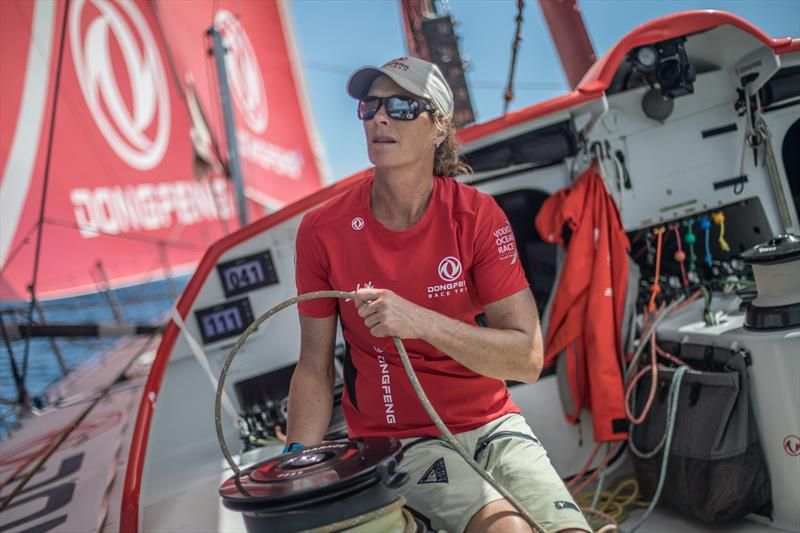 Leg 8 from Itajai to Newport, day 09 on board Dongfeng. 30 April,. Carolijn adjusting the outrigger. - photo © Jeremie Lecaudey / Volvo Ocean Race