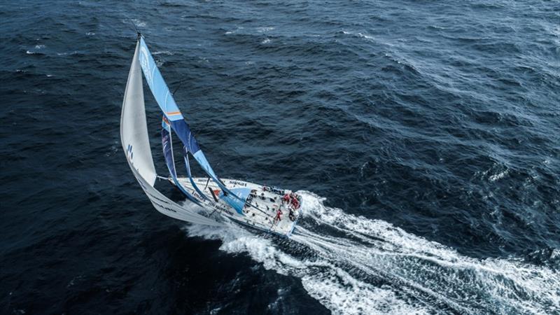 Volvo Ocean Race Leg 8 from Itajai to Newport, day 12, on board Vestas 11th Hour. Drone shot full speed downwind 23knts boat speed. - photo © Martin Keruzore / Volvo Ocean Race